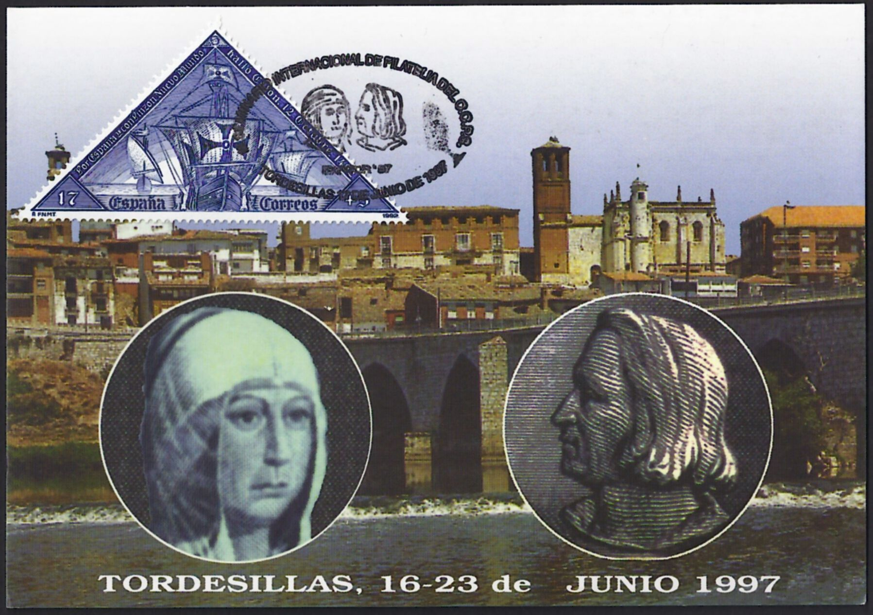 "Spain Scott B194b (31 Mar 1992) on postcard commemorating the 16- 23 June 1997 ""Columbus Seminar"" hosted by the Christopher Columbus Philatelic Society in the historic town of Tordesillas, Spain.     It was in the Treaty House in Tordesillas in 1494 that the world famous treaty was signed between the Spanish Catholic monarchs and the Portuguese King under the auspices of Pope Alexander VI.    Note the CCPS pictorial cancellation showing Queen Isabella and Christopher Columbus."