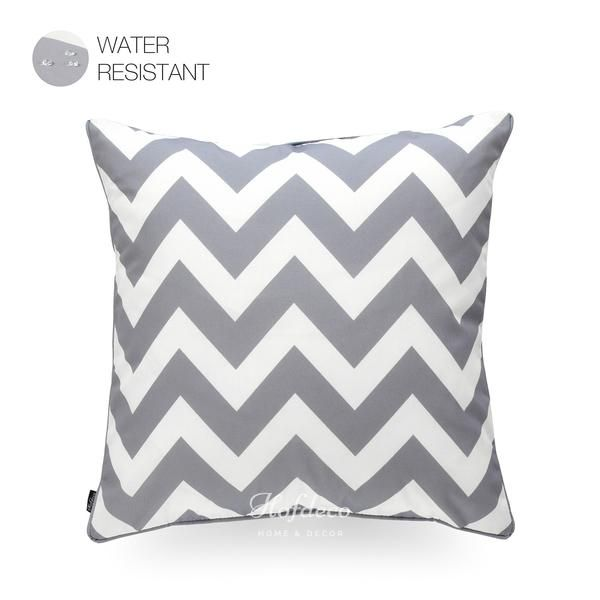 Modern Grey Zigzag Chevron Outdoor Throw Pillow Cover 18 X18 In