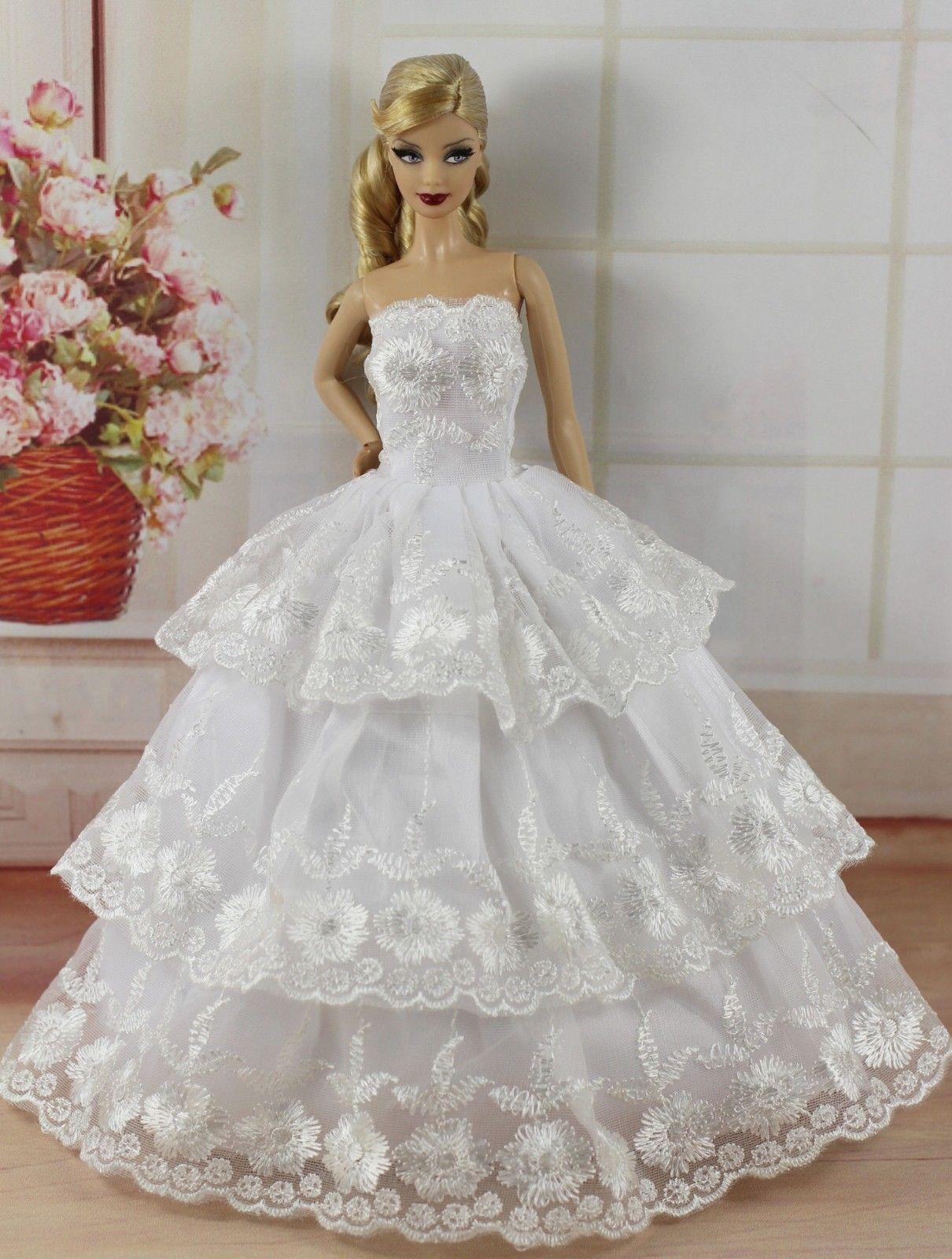 Doll wedding dress   PCS Fashion Princes DressWedding ClothesGown For Barbie Doll