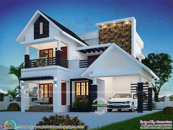 Cute Modern 4 Bedroom 1809 Sq Ft House Plan Kerala House Design Bungalow House Design Modern Style House Plans