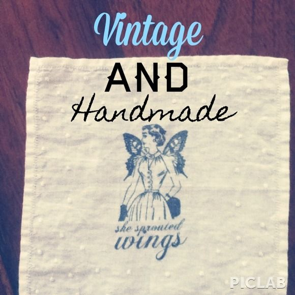 """Made to Order Vintage Hand Stamped Hankie Winged Pinup Vintage handkerchief that has been upcycled and hand stamped with permanent black ink. Hand wash cold. Cute image of a 1950s lady with wings as the saying """"she sprouted wings"""". These are made to order.  Handmade by moi! More available at http://belovedbijou.storenvy.com Beloved Bijou Adornments Accessories"""