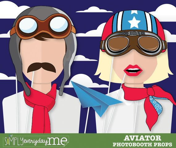 35 Pilot Party Props Airplane Party Diy Printable Photo Booth: Aviator Photobooth Props, Airplane Party, Photo Booth