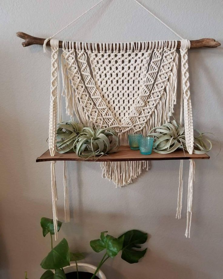 Macrame shelf, macrame wall hanging, shelf