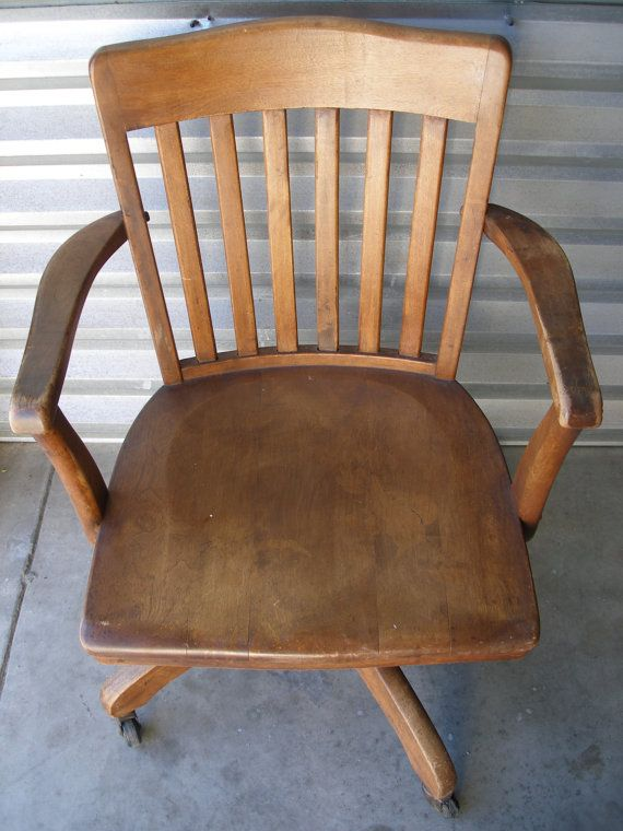 Vintage Oak Desk Chair Classic Office Decor Wood by VintageZen, $275.00 - RESERVED Vintage Oak Desk Chair - Classic Office Decor - Wood Swivel