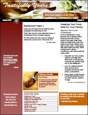 download restaurant newsletter templates apps interested in