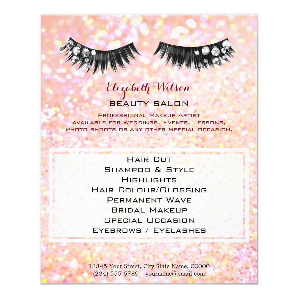 gemstone lashes professional makeup artist flyer Zazzle