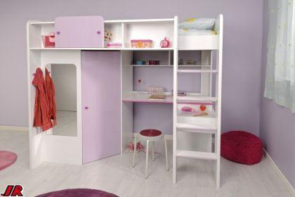 hochbett kinderbett jassi wei 04 lila hochglanz m bel. Black Bedroom Furniture Sets. Home Design Ideas