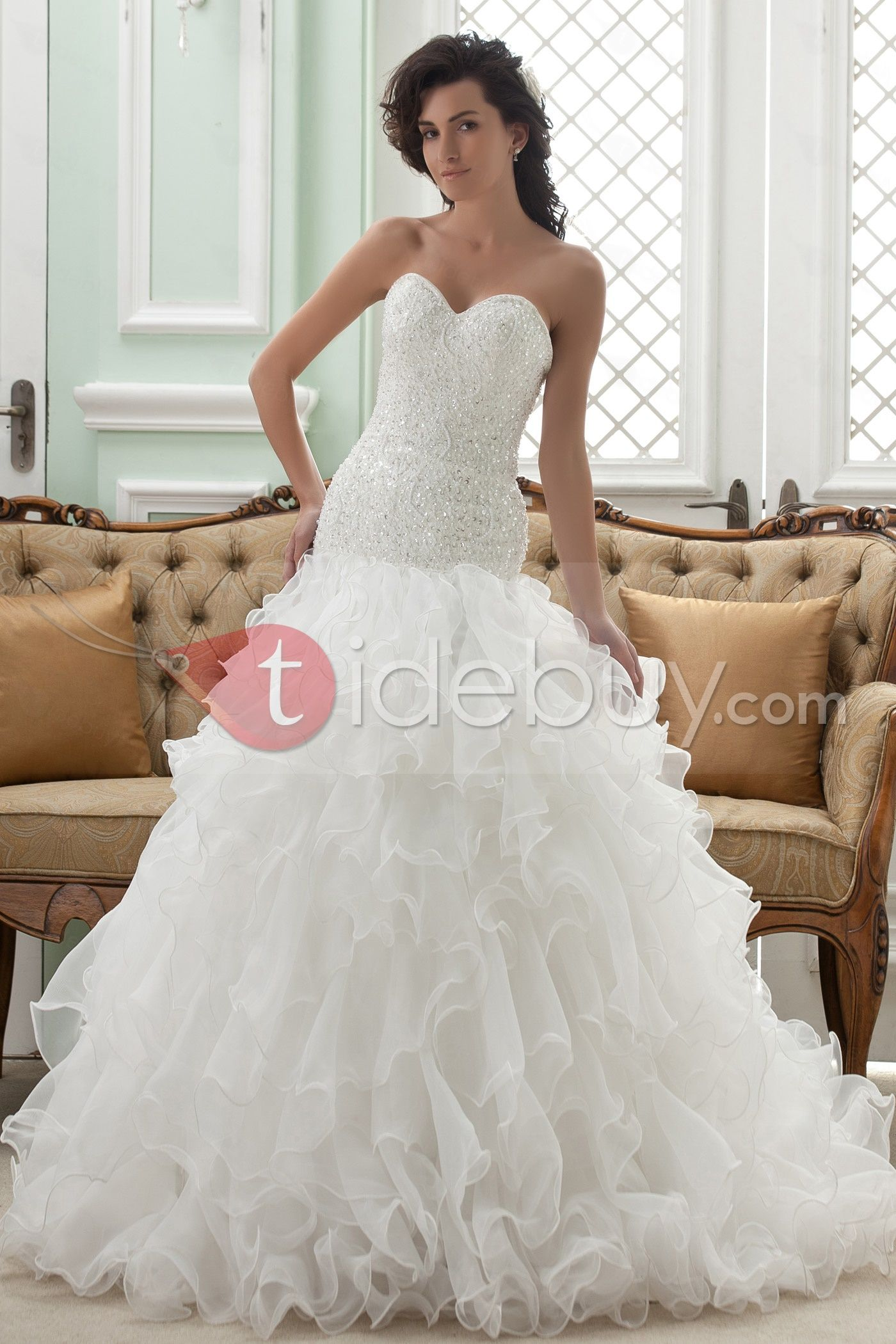 Gorgeous Strapless Ruffles Sweetheart Chapel Train Wedding Dress ...