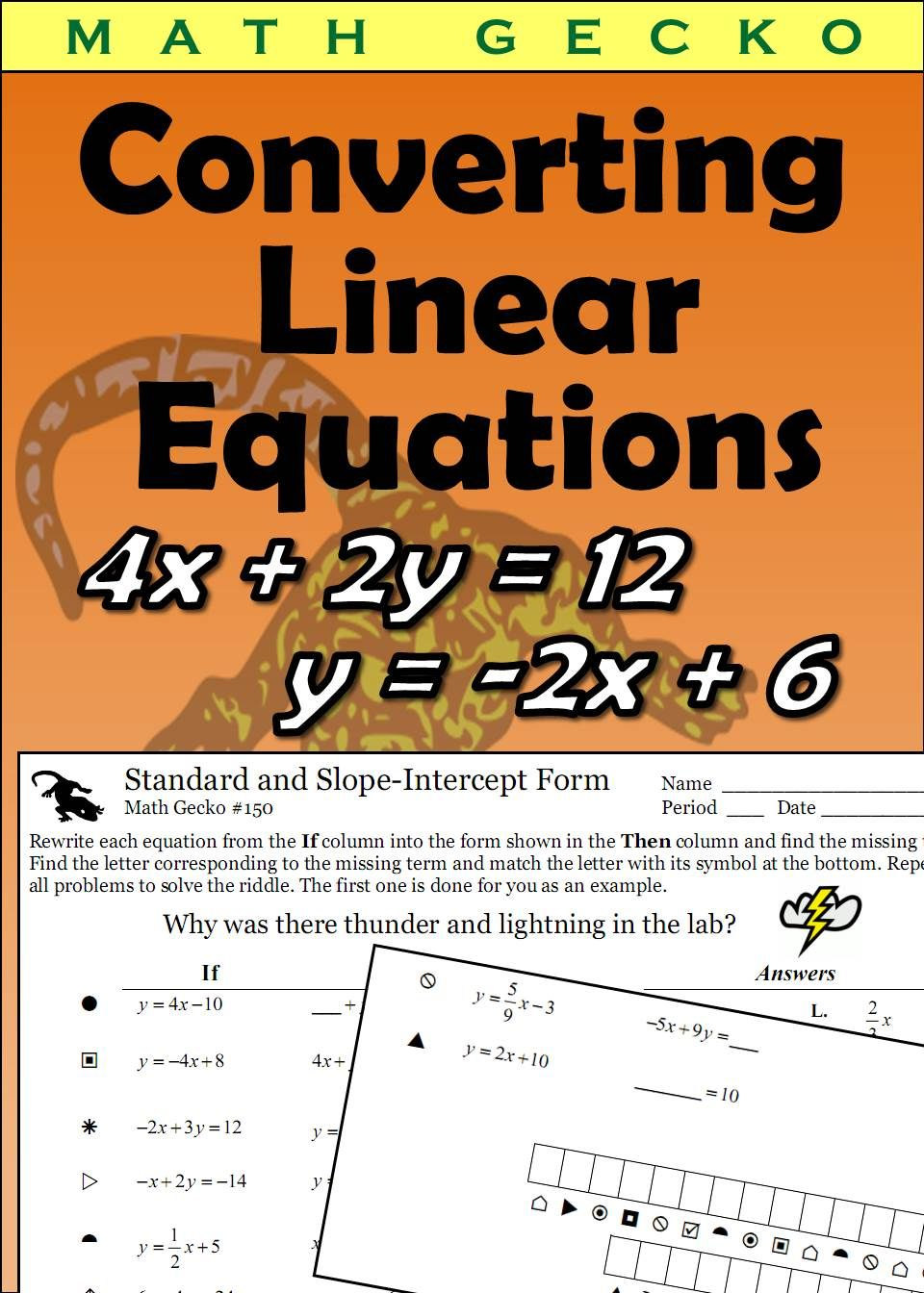Converting Linear Equations Standard And Slope Intercept Forms Equations Linear Equations Slope Intercept