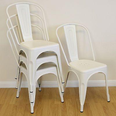 Set Of 4 Cream Metal Industrial Dining Chair Kitchen Cafe Bistro