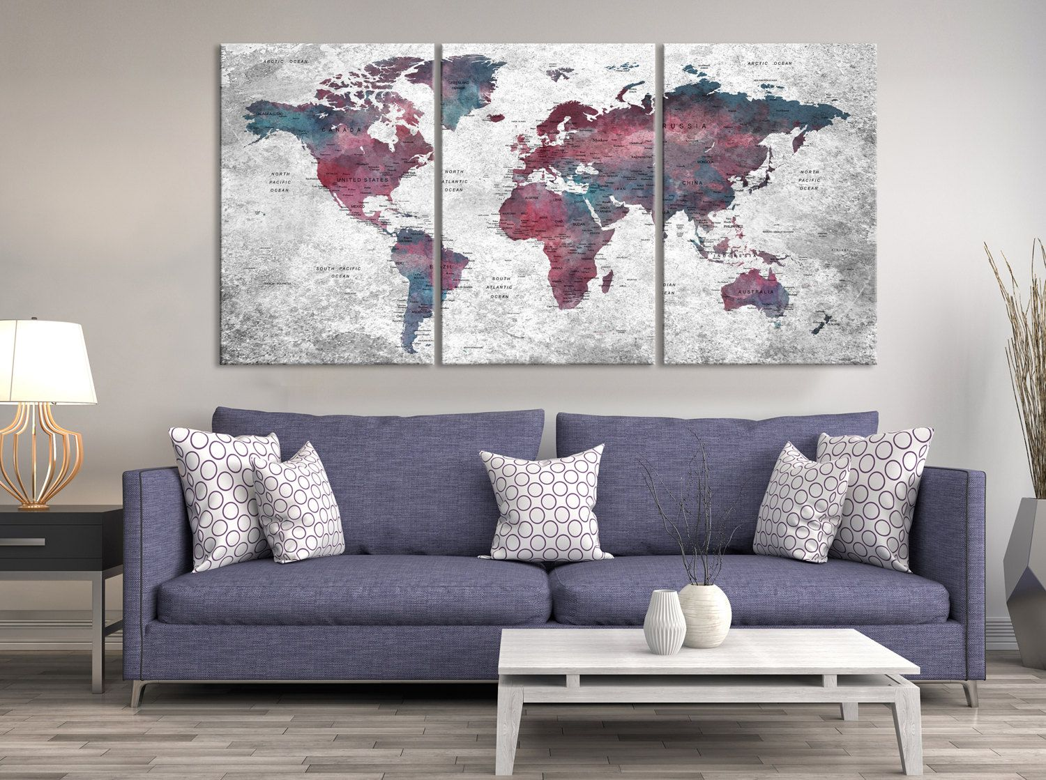 Watercolor push pin world map canvas print triptych wall art watercolor push pin world map canvas print triptych wall art watercolor world map canvas print gumiabroncs Gallery