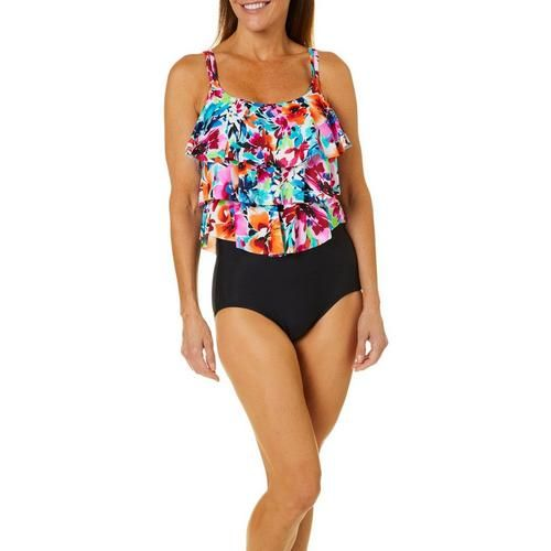 2d209291e1b Paradise Bay provides full coverage swimwear with a flattering fit in an  array of prints. This faux tankini swimsuit features a vibrant watercolor  floral ...