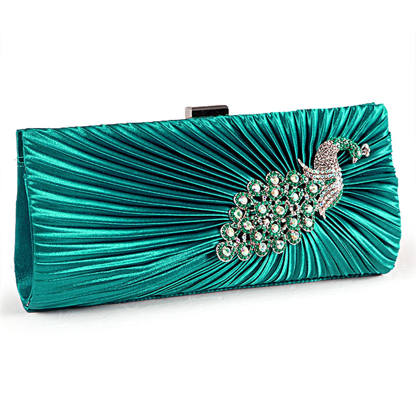 Ladies Satin Evening Clutch Bag Wedding Floral Crystal Women Handbag Pleated New