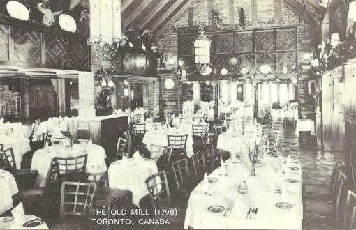 POSTCARD - TORONTO - THE OLD MILL RESTAURANT - MAIN DINING ROOM - 1961