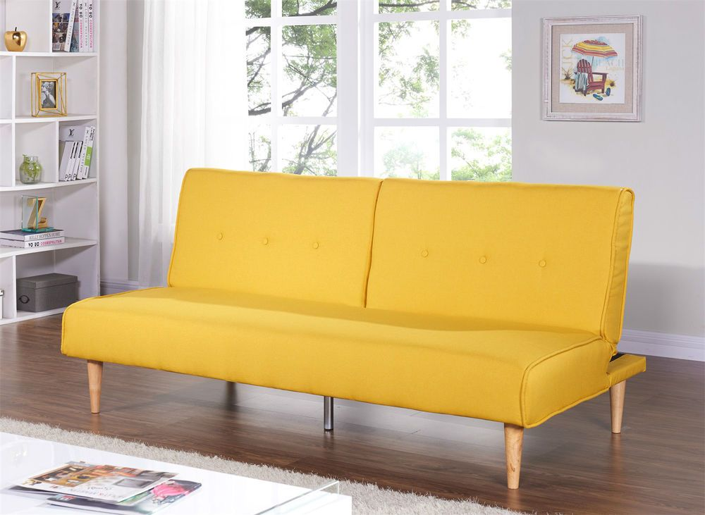 New Sofabed Fabric 3 Seater Padded Sofa Bed Split Back Function Wooden Colourful