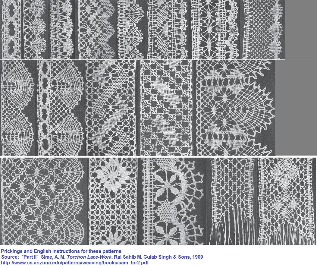 Prickings And English Instructions For These Patterns Part Ii Sime A M Torchon Lace Work Rai Sahib M Gul Bobbin Lace Patterns Bobbin Lace Lace Crafts