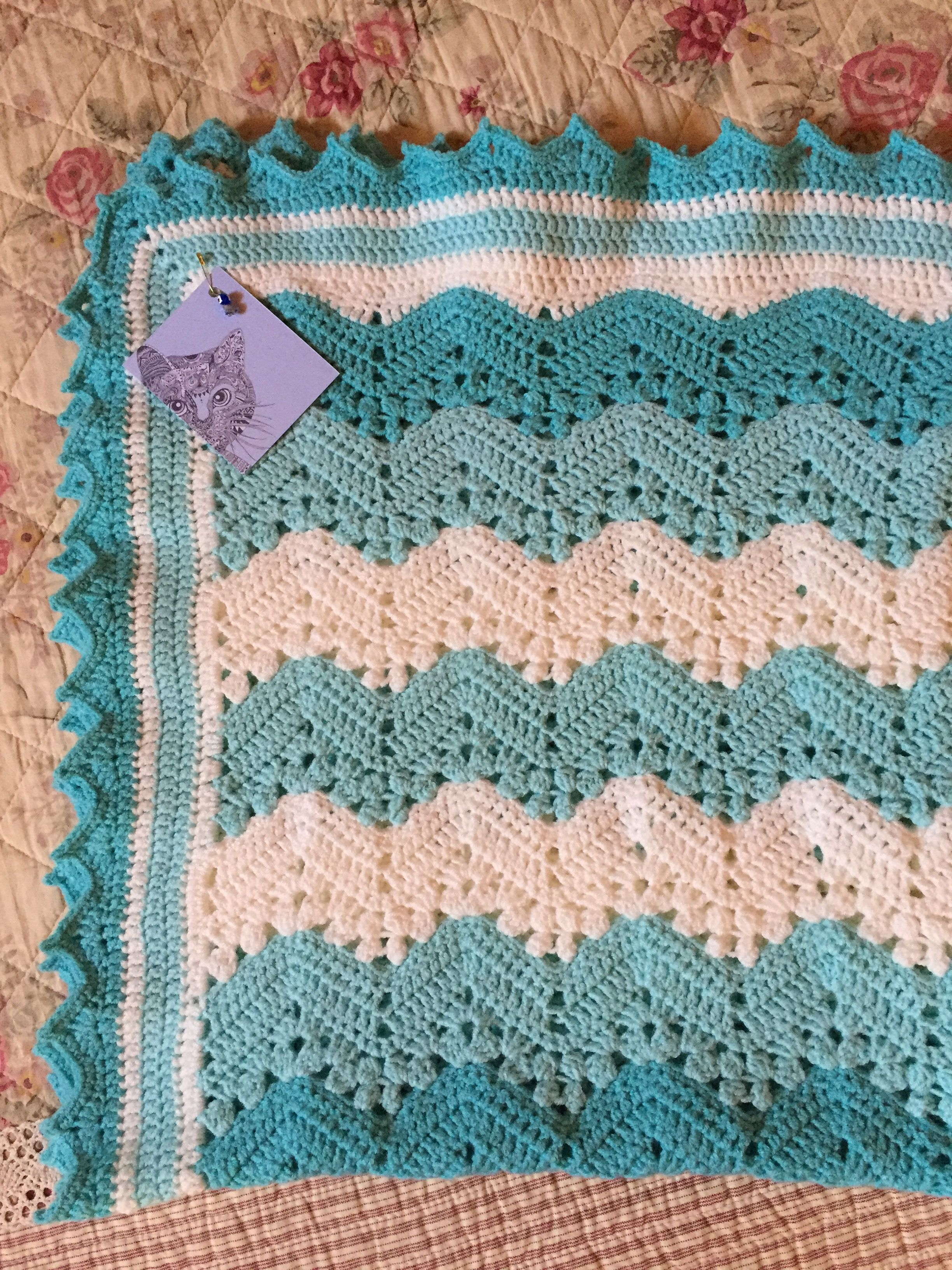 6 day kid blanket pattern on ravelry, my own border | Stuff I made ...