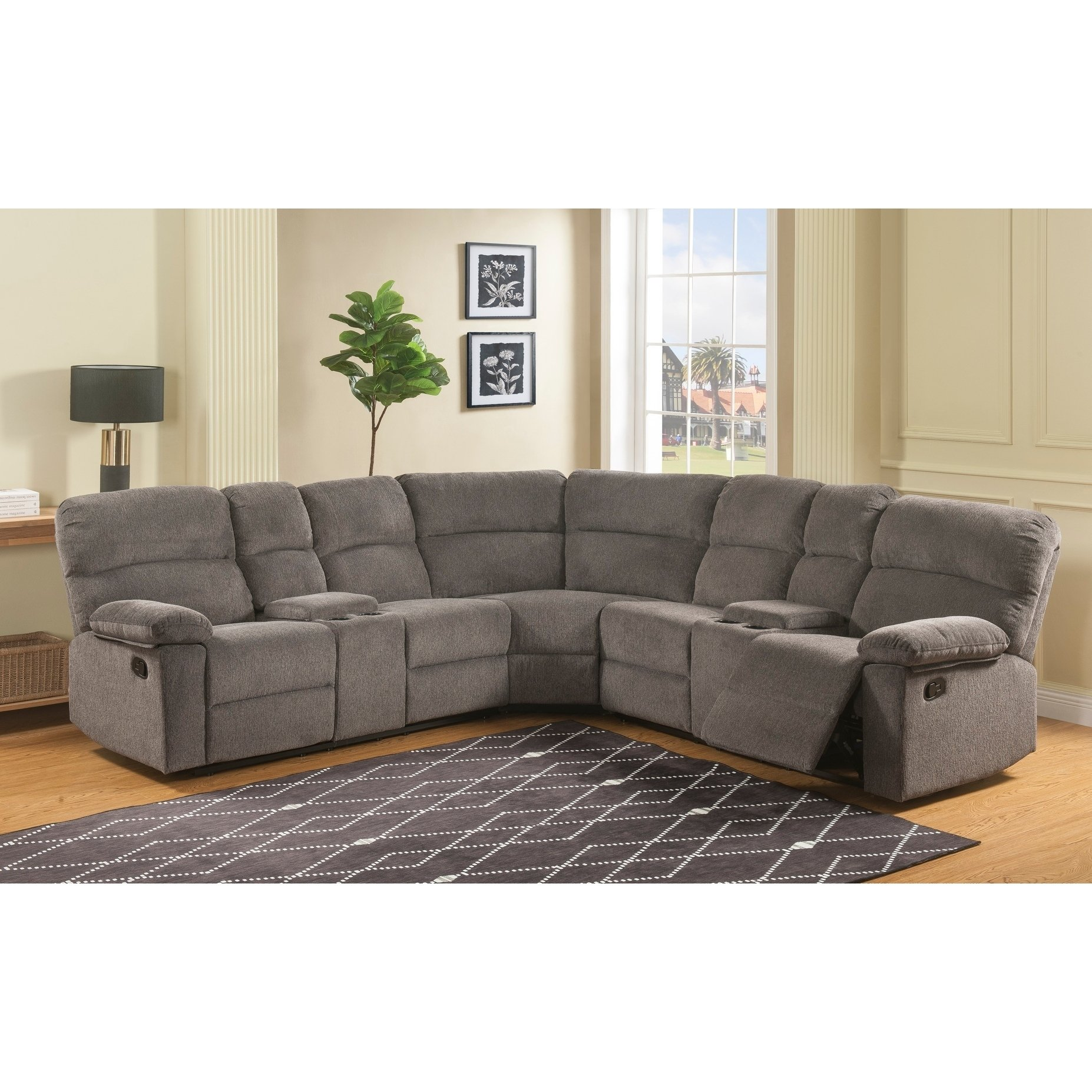 Clark 3 Piece Reclining Sectional With Hidden Storage By Greyson