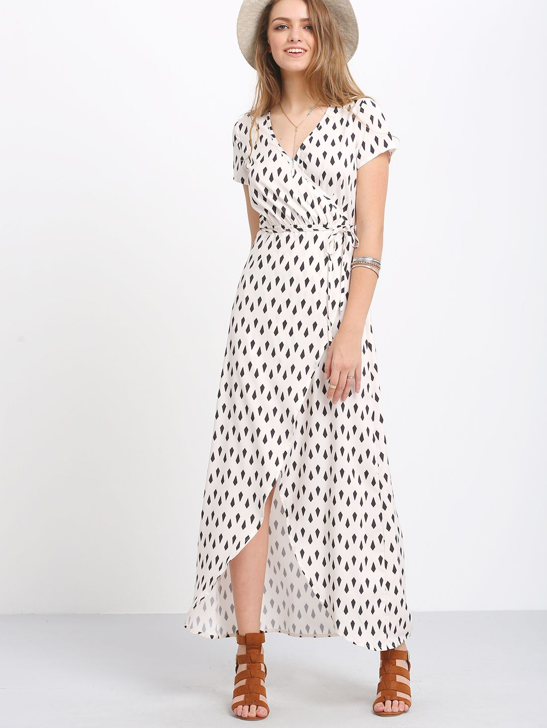 1fc0d8ba88d Shop Black White Print Split Long Dress online. SheIn offers Black White  Print Split Long Dress   more to fit your fashionable needs.