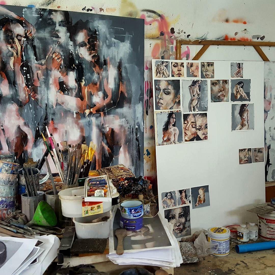 Studio shot of larger and smaller scale works #fineart #paintings #studio #oils #figures #heads #thebody #expressive #creative #inspiration #artoftheday #picoftheday #instaart #artistoninstagram #contemporaryart http://ift.tt/2es9akz