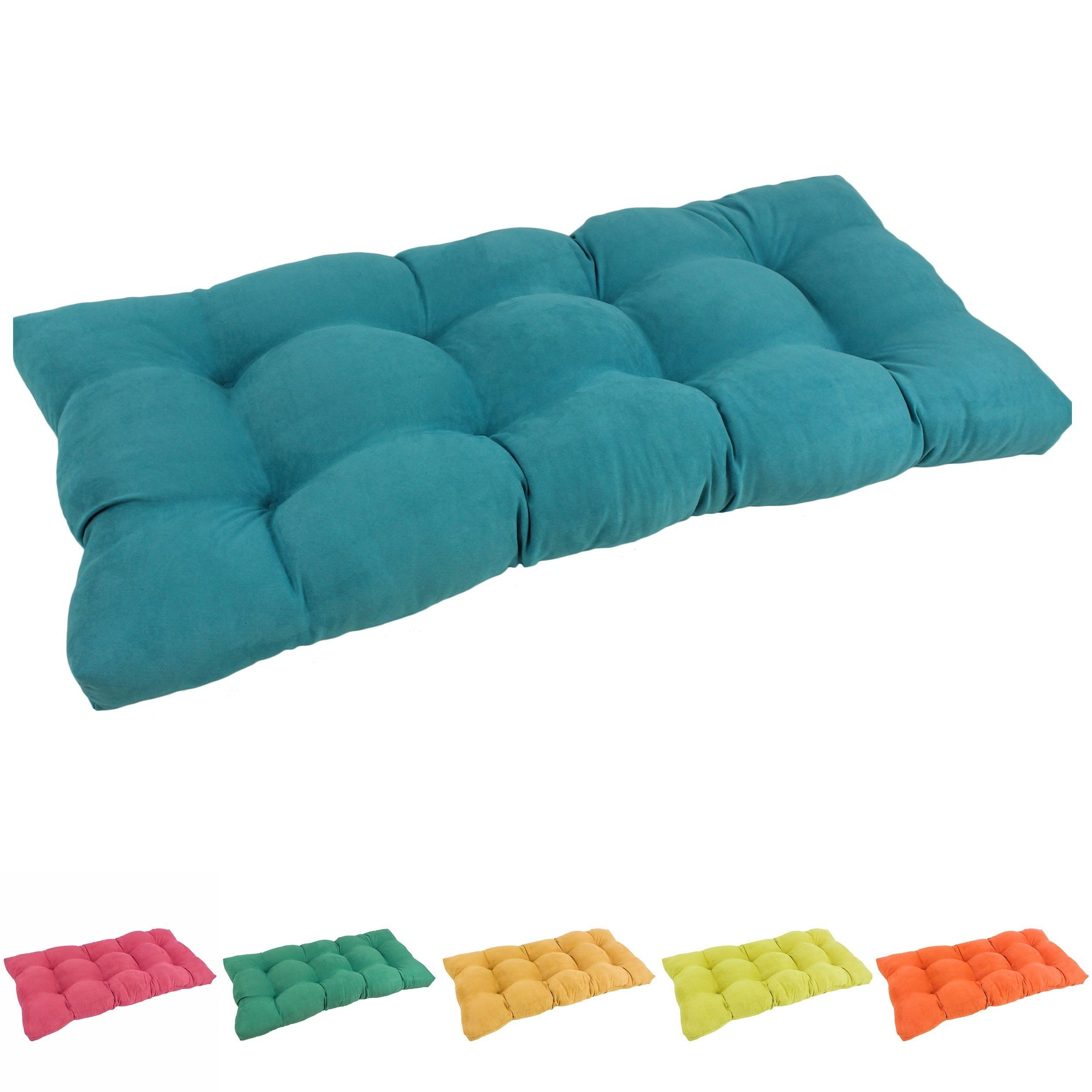Blazing Needles 42 Inch Microsuede Indoor Bench Cushion Aqua Blue