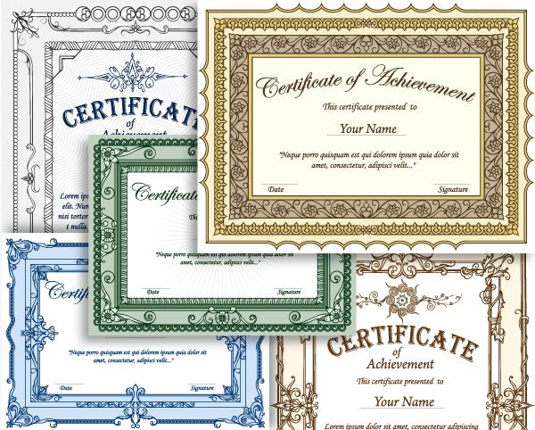 certificate border vector set 1 vector illustrations photoshop