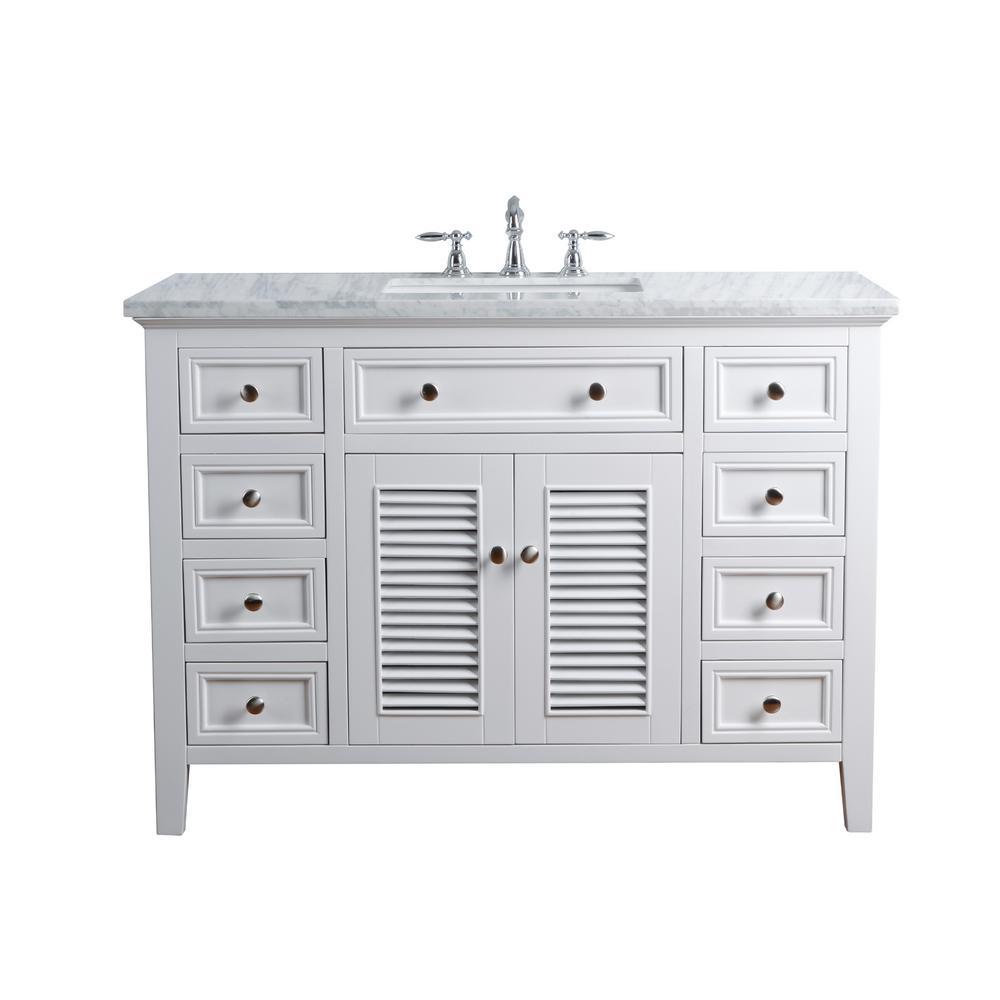 Stufurhome 48 In Genevieve Single Sink Vanity In White With