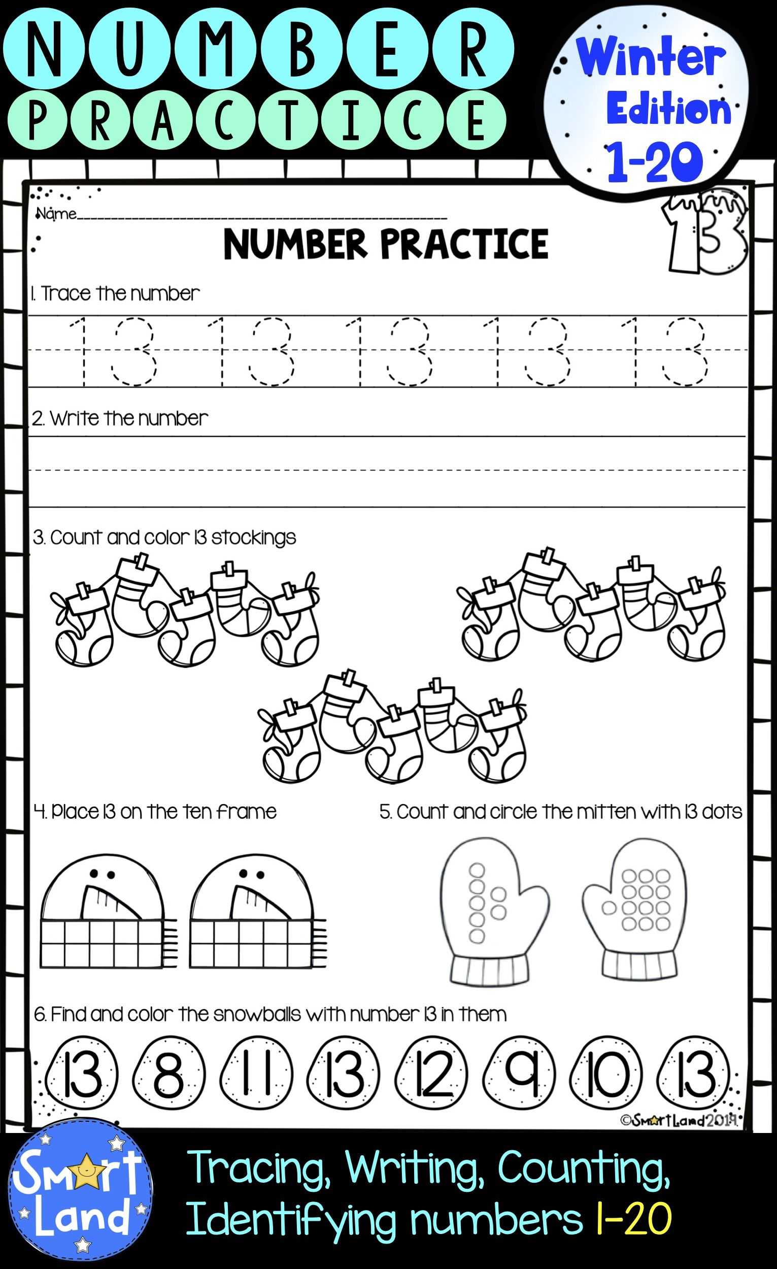 Numbers 1 20 Handwriting And Counting Practice Worksheets Winter Edition Writing Practice Pre Writing Practice Writing Numbers [ 2500 x 1531 Pixel ]