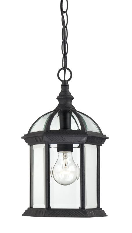 Nuvo Lighting 60 4979 Boxwood Single Light Hanging Lantern With Clear Beveled Gl Textured Black Outdoor Pendants