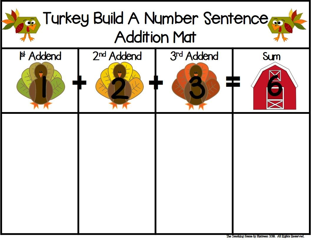 Turkey Build A 3 Addend Addition Or Subtraction Number
