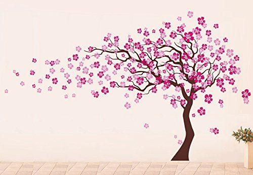 Pop Decors Dark Brownlight Pink Go Left Cherry Blossom Tree Flowers Beautiful Wall Stickers For Kids R Blossom Trees Wall Painting Decor Creative Wall Painting
