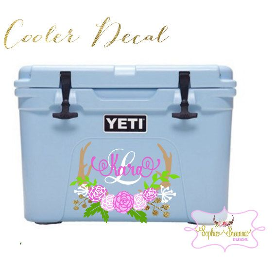 Yeti Cooler Decal Skin Personalized Floral Monogram Decal Yeti