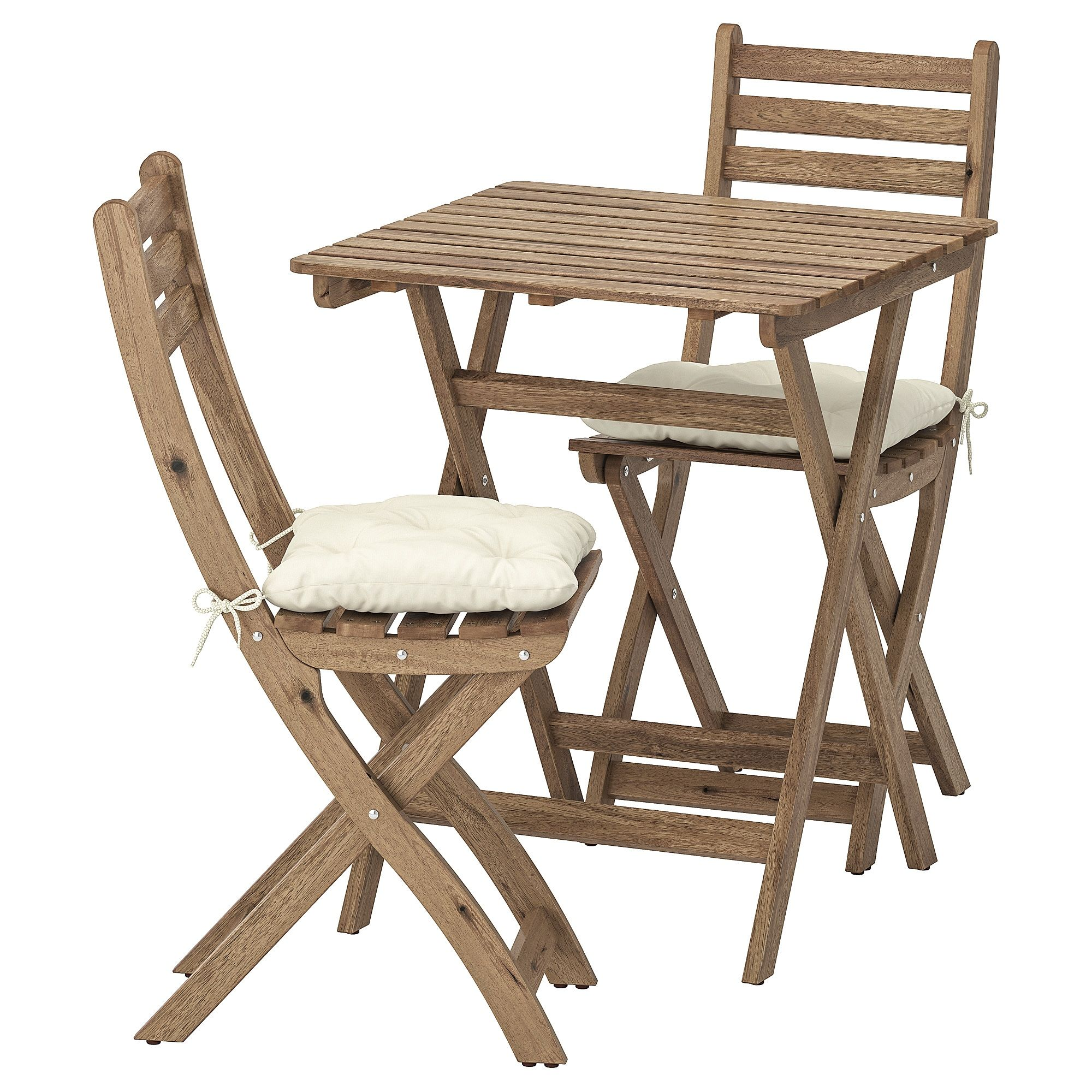 Askholmen Table 2 Chairs Outdoor Gray Brown Stained Kuddarna Beige Ikea In 2020 Outdoor Dining Furniture Outdoor Folding Chairs Ikea