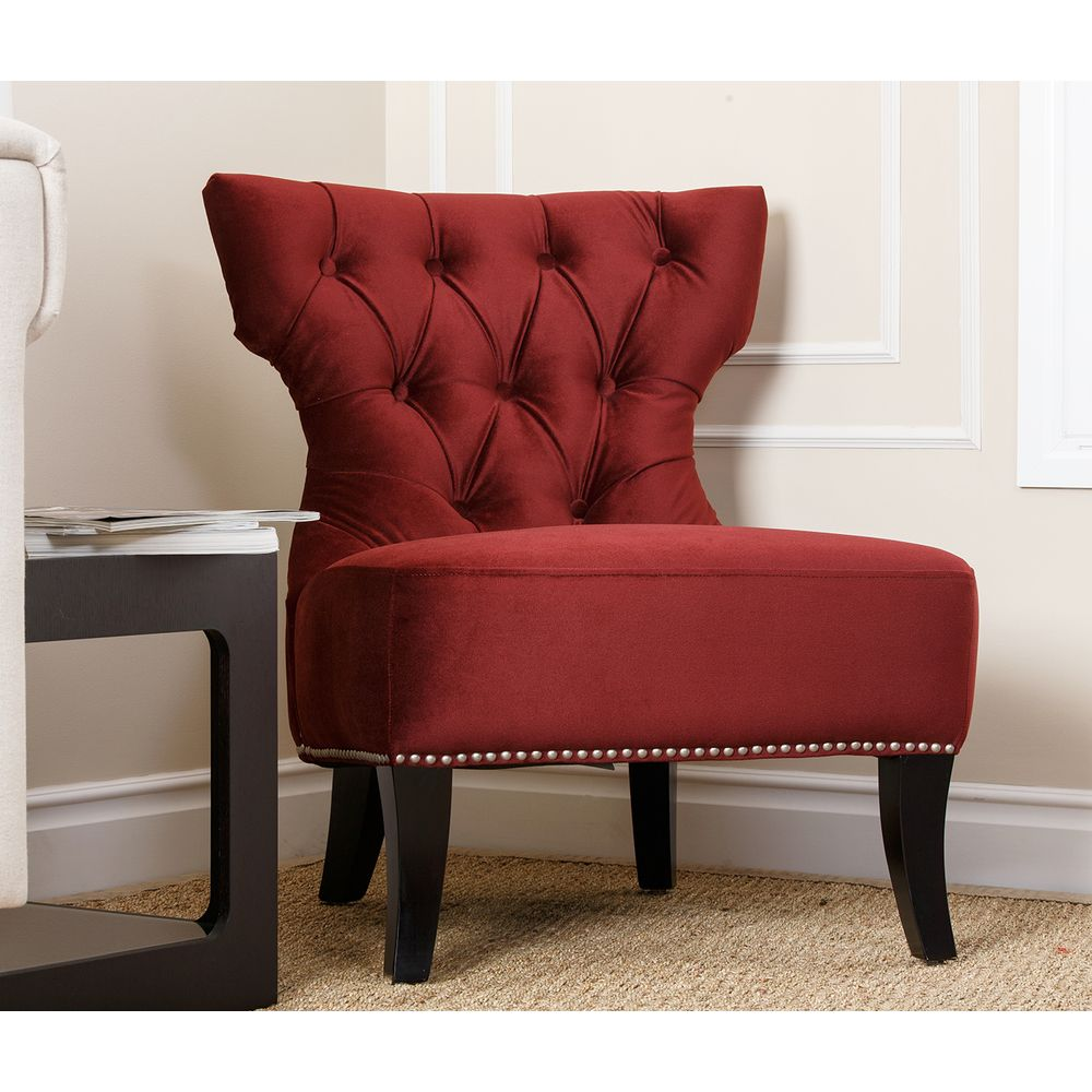 Overstock Living Room Chairs Monica Pedersen Nicole Burgundy Side Chair By Abbyson Living By
