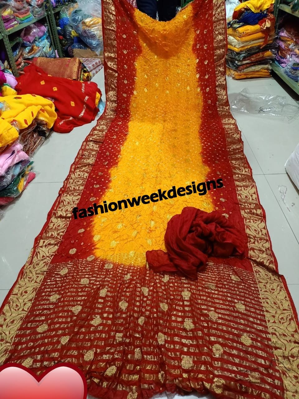 Party wear georgette Gotta patti work fancy border with blouse  Jaipur,Wedding  yellow /& red color rajasthani saree