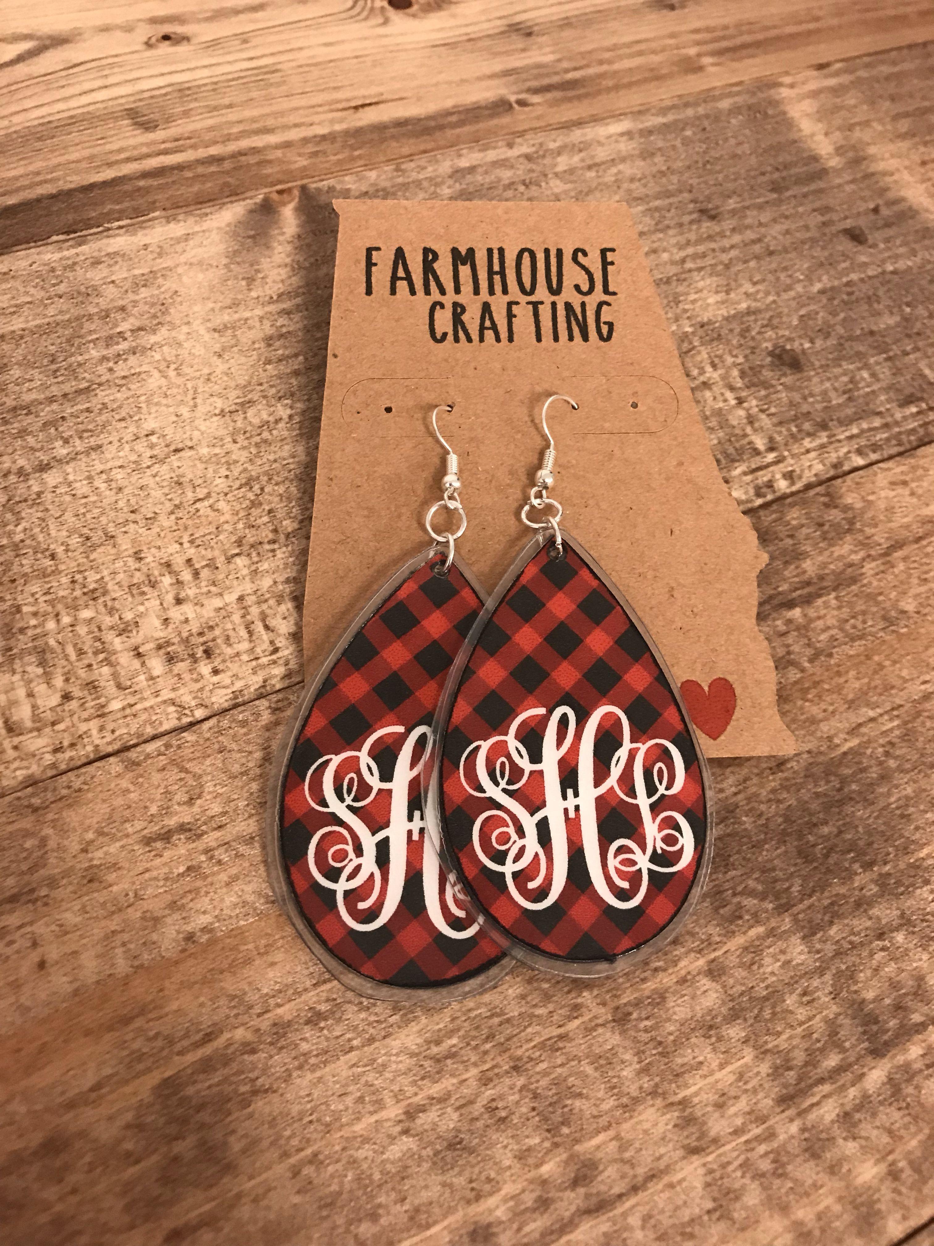 Buffalo Plaid Earrings 10 00 Diy Leather Earrings Monogrammed Earrings Vinyl Silhouette Jewelry