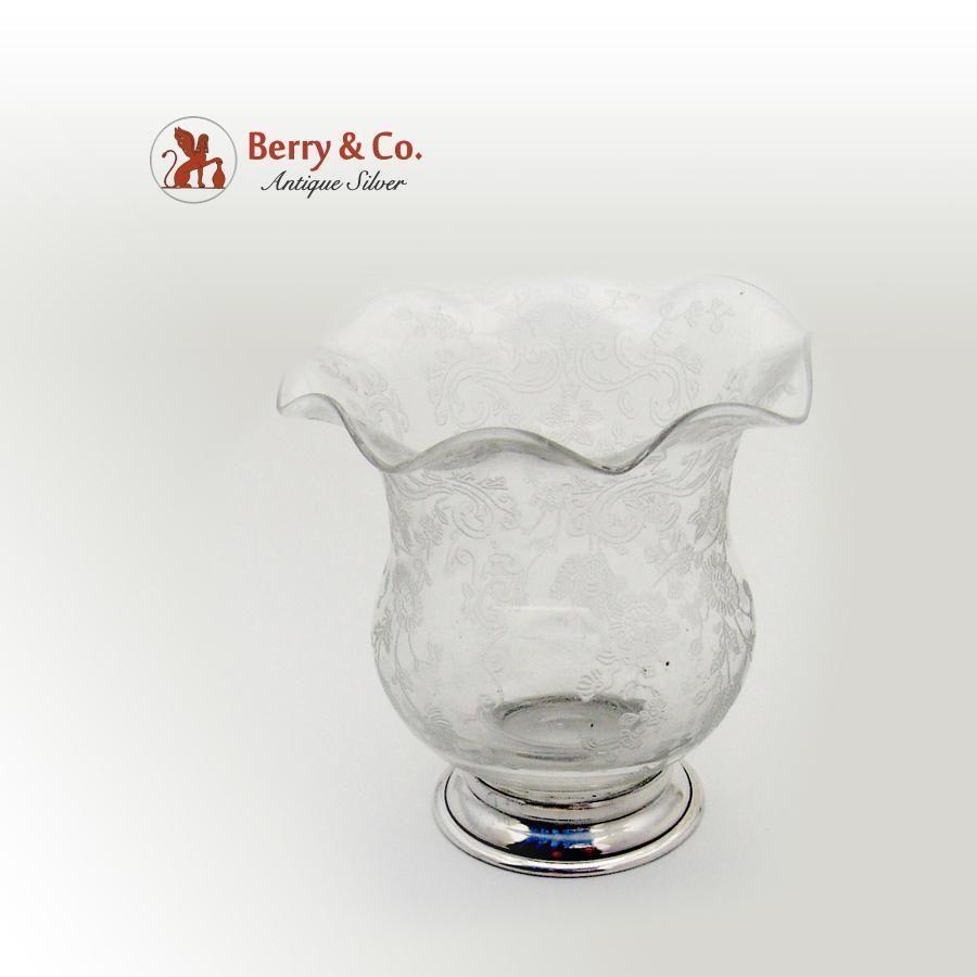 Chantilly Cigarette Urn Vase Sterling Silver Acid Etched Glass Cambridge 1940