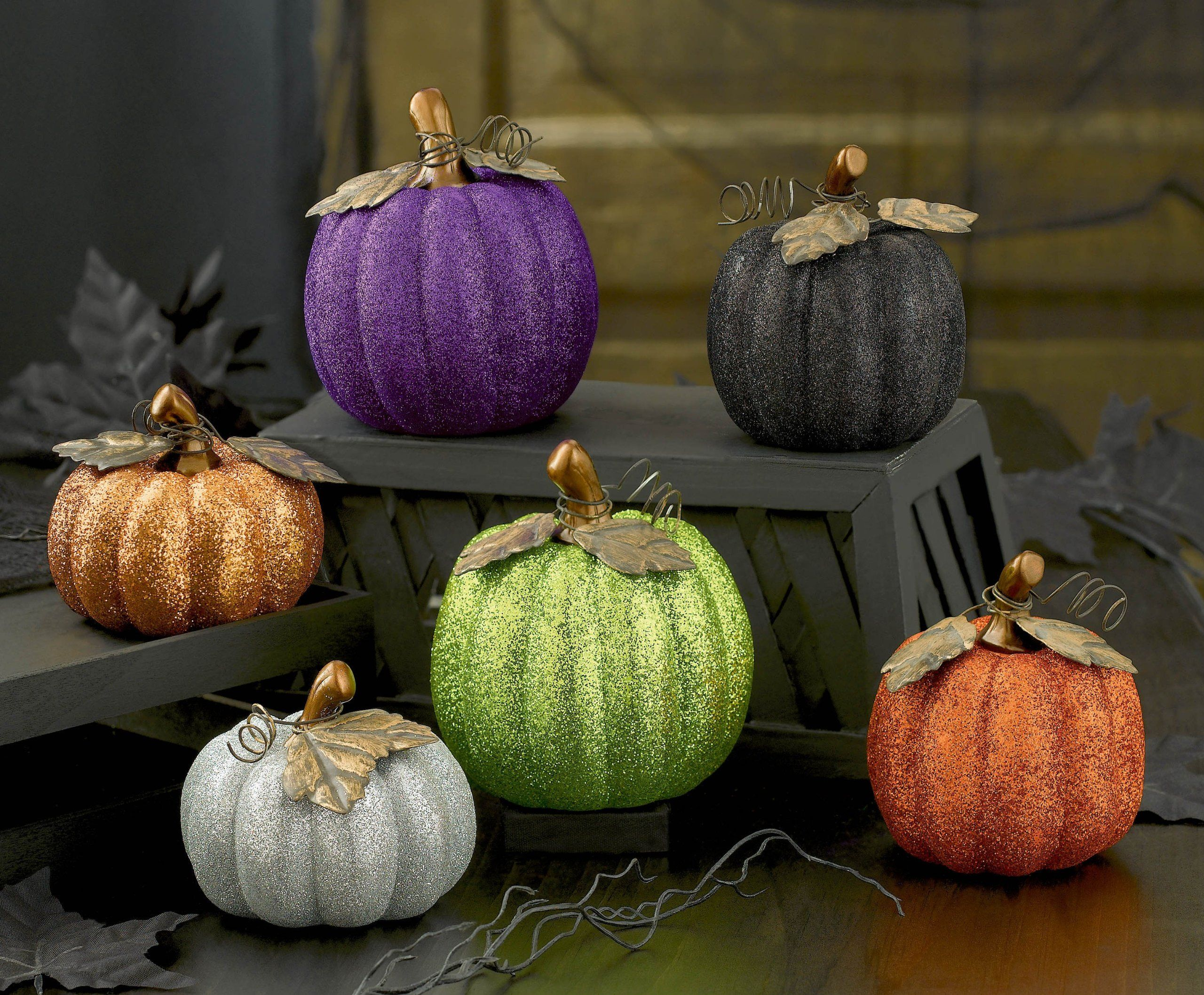 Grasslands Road Glitter Pumpkin Assortment 4 Inch Ceramic Orange Green Purple Black Silver Gold Set Of 6 Glitter Pumpkins Pumpkin Fall Decor
