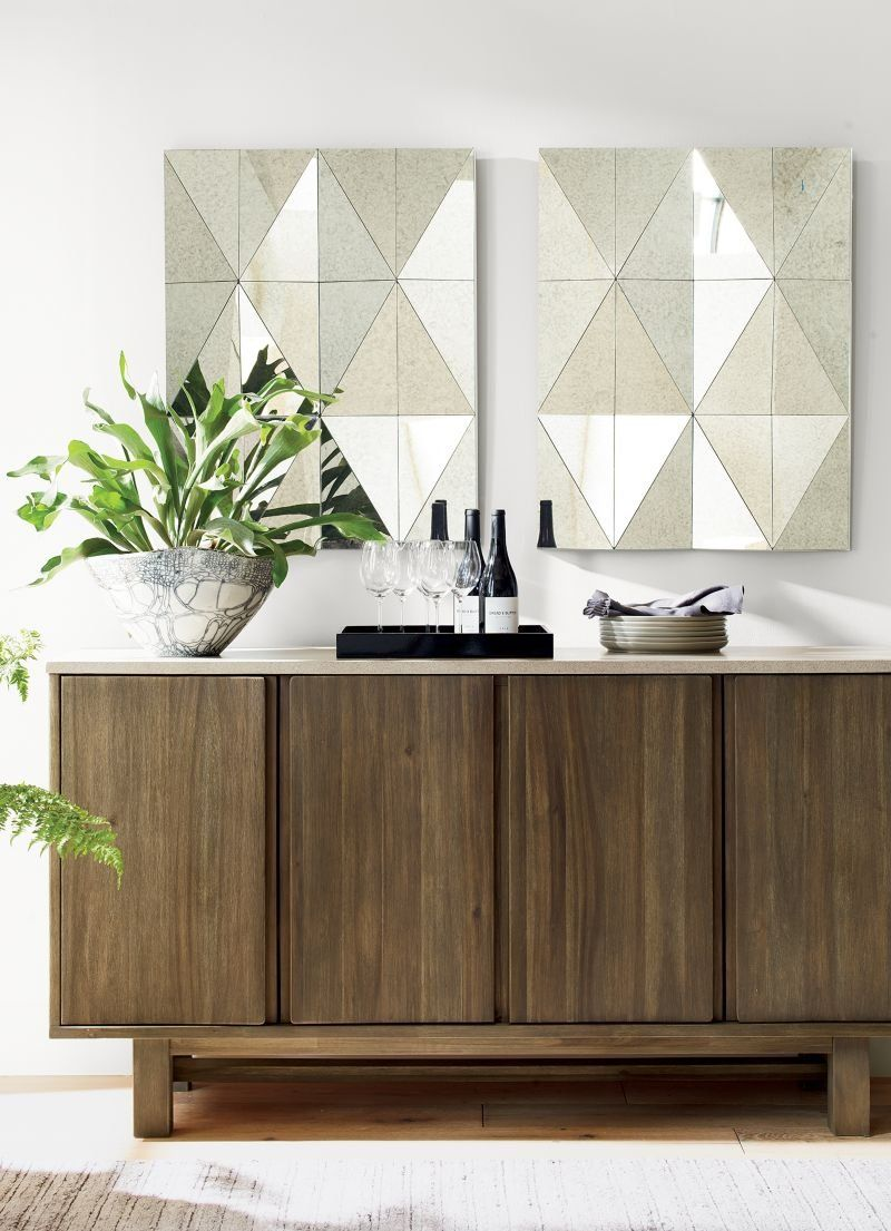 Triangles Of Antique Glass Angle To Form Faceted Diamonds In Our Striking Gemma Mirror The Wall Interior Design Kitchen Small Trending Decor Crate And Barrel