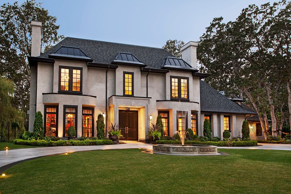Beige Stucco House Exterior Traditional With Dark Window Trim Window Wall Stucco Exterior House Exterior Black Trim Exterior House