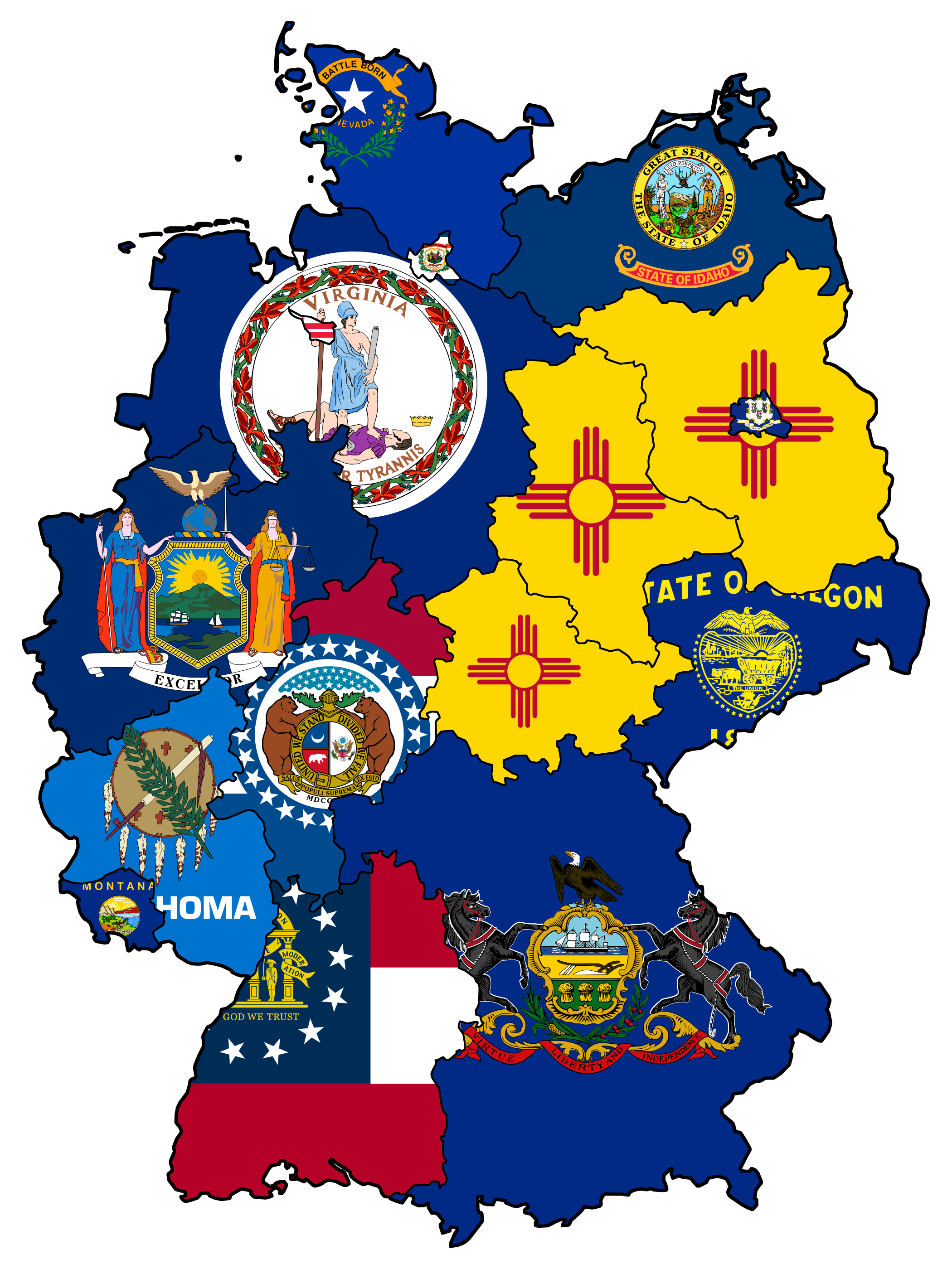 Flag Map US States With Similar Population To German States - Us state flag map