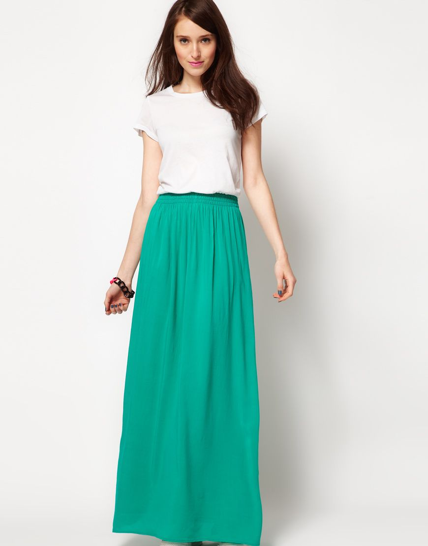 Best Maxi Skirt Outfits for Women 2017 : Green Maxi Skirt | Best ...