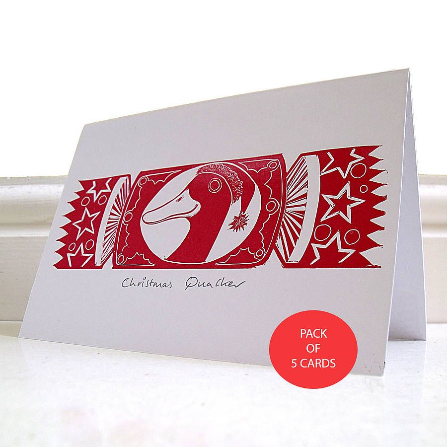 christmas quacker hand printed christmas card by cardinky ...