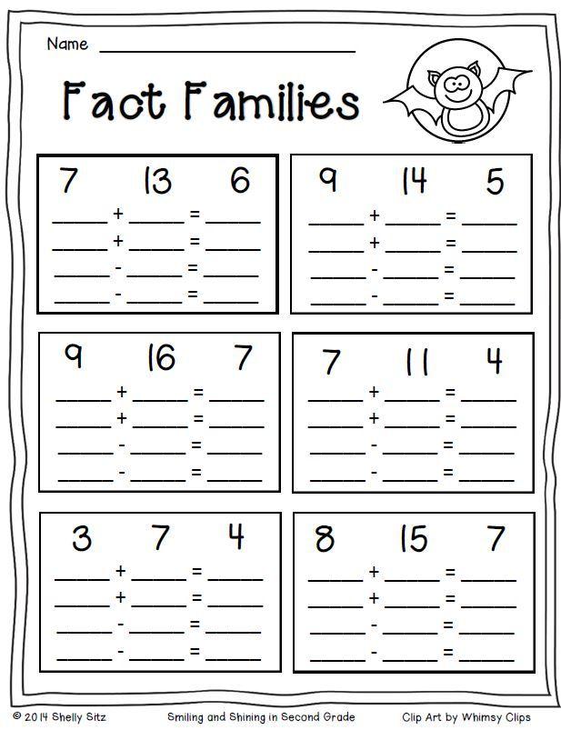 Fact Families Free Halloween Math Halloween Math Fact Family Worksheet Fact Families