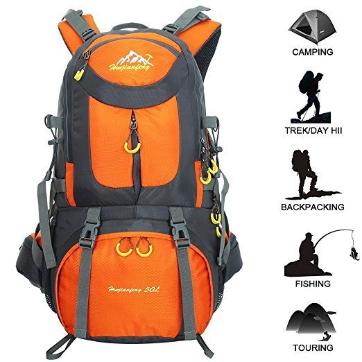 60L Unisex Outdoor Backpack Sports Hiking Travel Luggage Rucksack Bag Orange