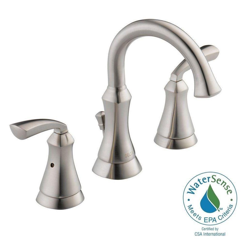 delta mandara 8 in widespread 2 handle bathroom faucet in brushed nickel - Delta Bath Faucets Home Depot