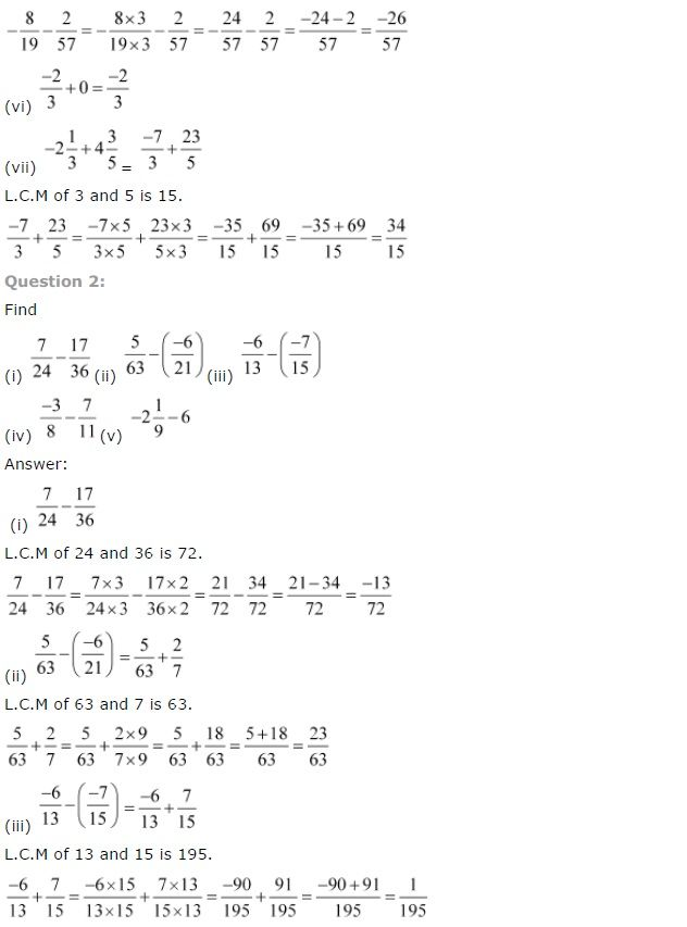 Ncert Solutions For Class 7th Chapter 9 Rational Numbers Exercise