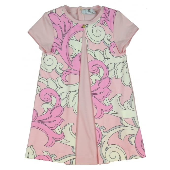 Young Versace Baby Girls Baroque Print Dress with Plain Pink Panel