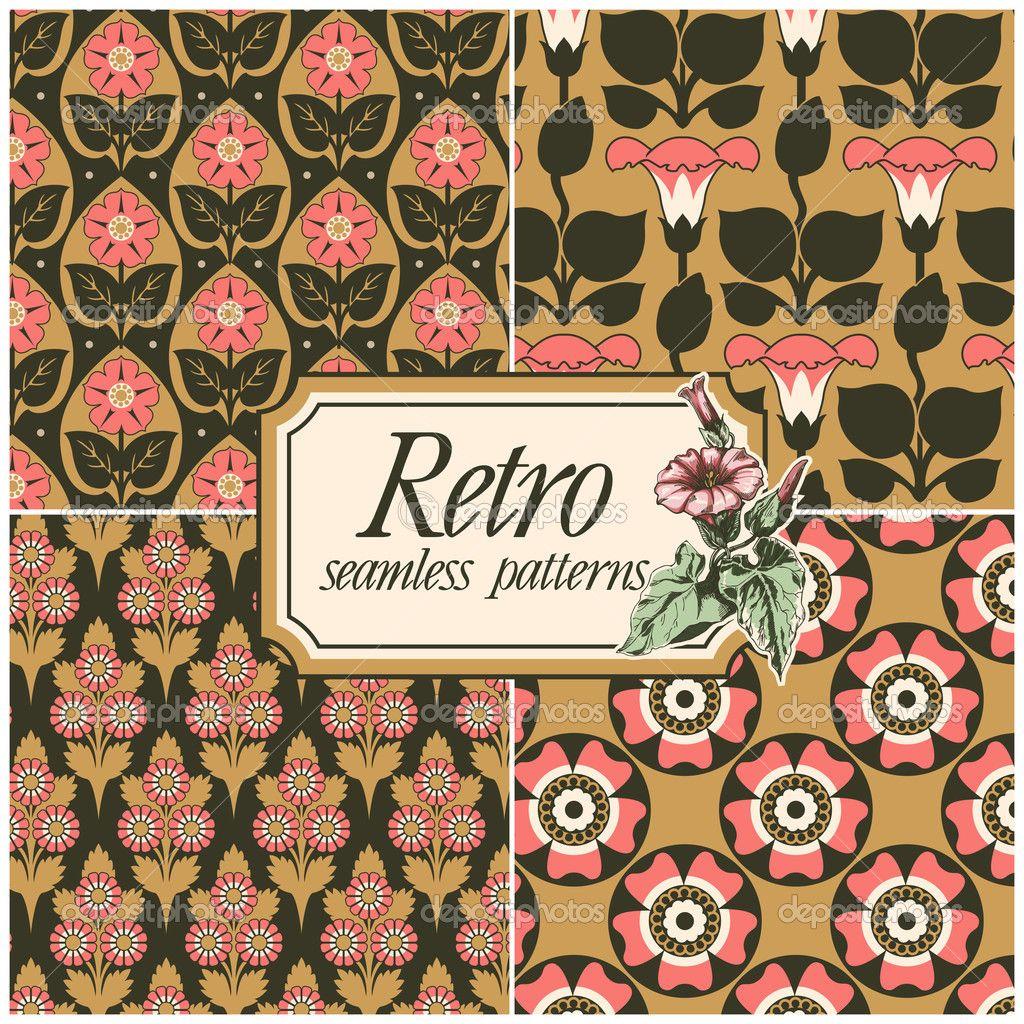 Set of four retro seamless patterns — Стоковая иллюстрация #13690845