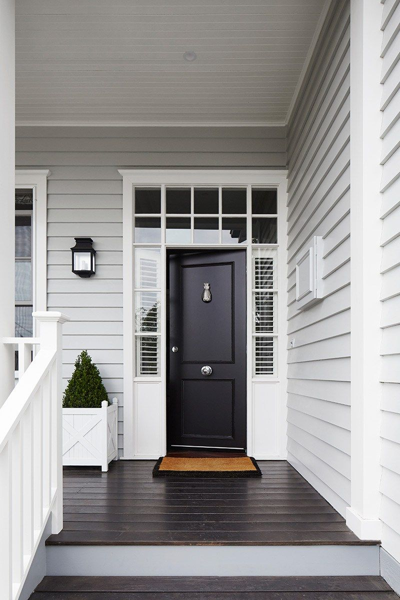 Front Door Gives A Impressive Feel Without Having To Have A Extra Large Door Facade House Gray House Exterior House Paint Exterior